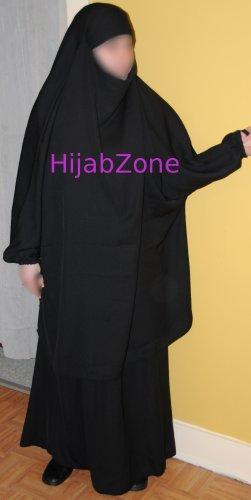 Two-piece Overhead Jilbab- T1, Black