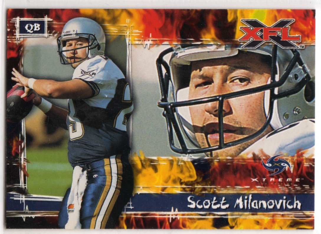 XFL 2001 Promo Card P1 (Topps) featuring quarterback Scott Milanovich - Football Trading Card