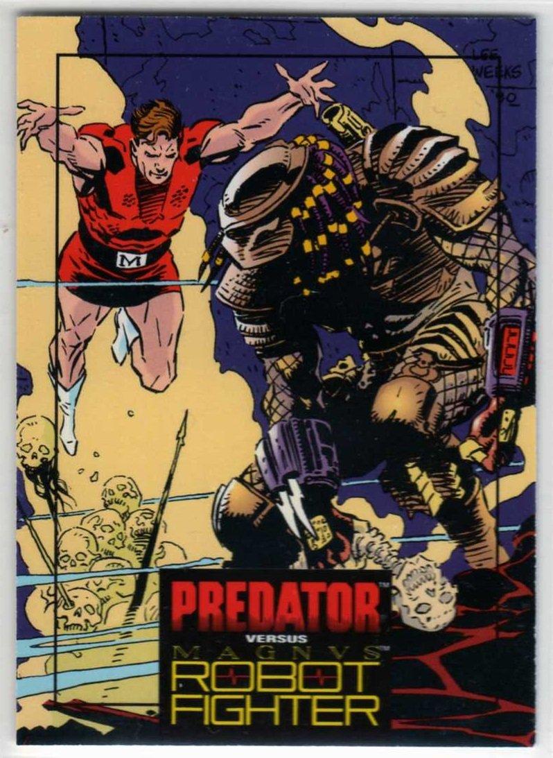 Predator Versus Magnus Robot Fighter #3 Trading Card (Wizard) art by Lee Weeks