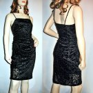 Vintage Black Burnt out Velvet Disco Dress  Size Extra Small/Small