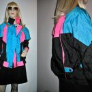Vintage 80s Neon Color Block Ski Jacket Windbreaker Size Medium