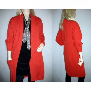 Vintage 80s Warm Winter Cardigan Coat Sweater - Size S Small to M Medium