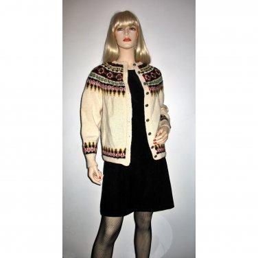 Vintage 70s Norwegian Fair Isle Wool Vintage Sweater Multicolor Cardigan Womens XS