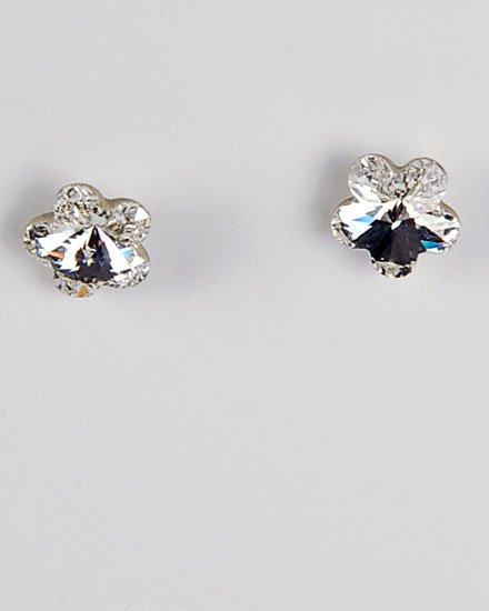 Clear silver Swarovski Crystal / Lead Compliant / Flower Stud Earring Set Fashion Jewelry