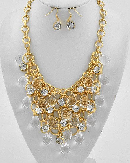 Goldtone Metal / Clear Acrylics Graduating / Charm Necklace & Fish Hook Earring Set