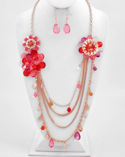 Goldtone / Pink Crylic  Multi Strand Flower Necklace Fish Hook Earring Set