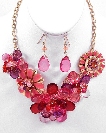 Goldtone / Red Acrylics Flower Necklace & Fish Hook Earring Set