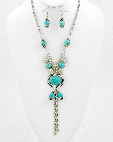 Silvertone / Turquoise Gemstones  Charm Style / Necklace & Fish Hook Earring Set