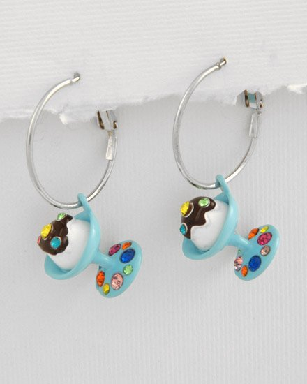 ice cream Silvertone / Turquoise Epoxy / Multi Colored crystals Charm Post Earring Set