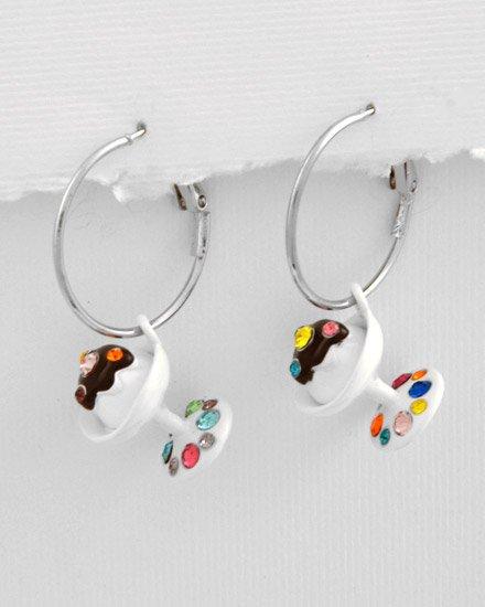 Silvertone White Epoxy ice cream Multi Colored crystals Sundae Charm Post Earring Set