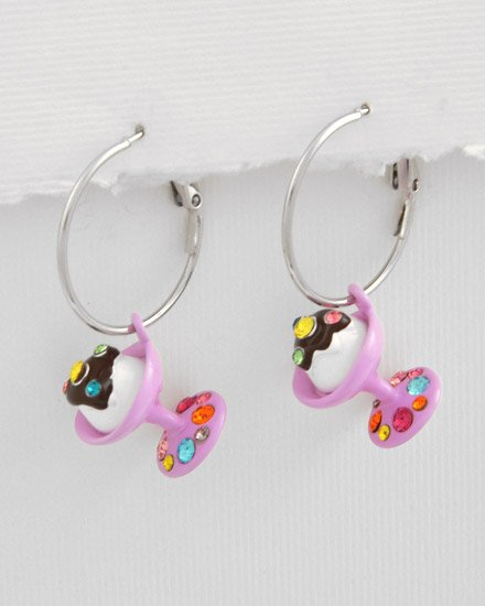 Silvertone / Lavender Epoxy Multi Colored swarovski crystals Sundae ice cream Charm Post Earring Se