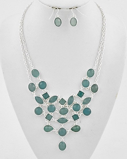 Silvertone / Turquoise Lucites Multi Strand Cascading Necklace & Hook Earring Set