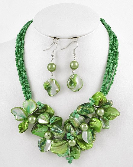 Silvertone Green Beads & Shell Hook earrings Multi Strands / Flower / Necklace & Earring Set
