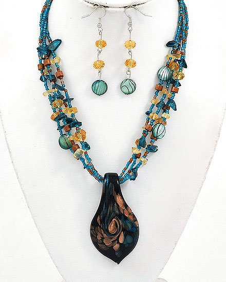 Silver Tone / Teal Glass  Hook earrings Pendant  Necklace & Earring Set