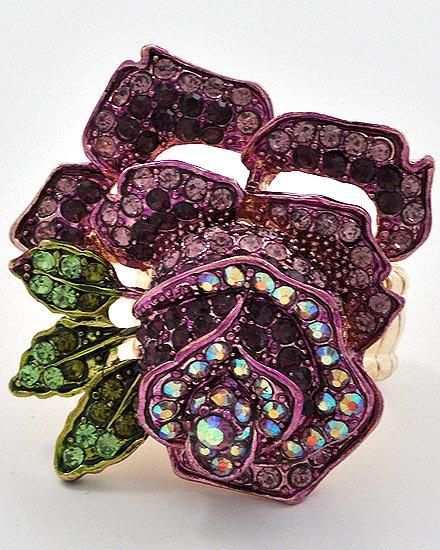 Gold Tone / Purple swarovski crystals / Flower / Stretch Ring