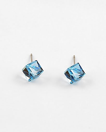 Aqua Swarovski Crystal / Lead Compliant / Square diamond shape Stud Earring Set Fashion Jewelry