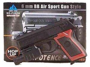 Black Hand Gun w/ Laser - Spring Powered
