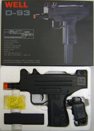 D93 Airsoft D93 Full Size Uzi Style Auto Electric Pistol