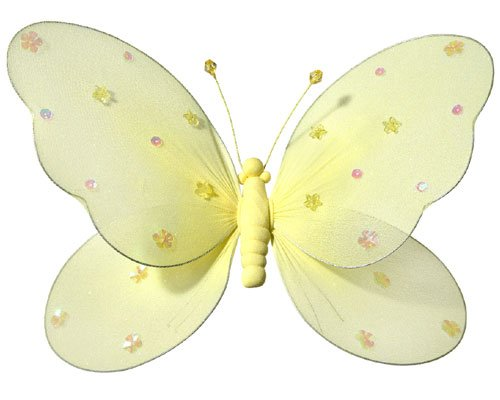 Fabric Butterflies - Girls Room Decor - Yellow - Medium