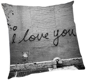 I Love You - Black/White Accent Pillow