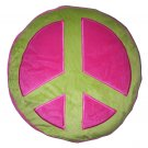 Peace Sign Plush Pillow - Green/Pink