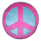 Peace Sign Plush Pillow - Pink/Blue
