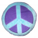 Peace Sign Plush Pillow - Blue/Purple