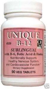 Dee Cee Laboratories Unique B-12, Active Form (Methylcobalamin) 90 Tablets, Sublingual