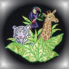RAINFOREST Towel~TIGER GIRAFFE TOUCAN Black~Zebra Edge