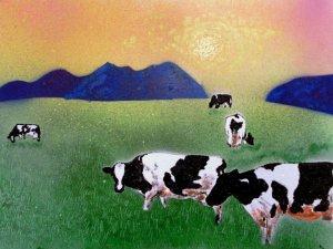 Cows in summer mist