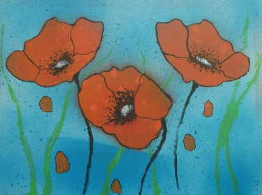 Red Poppies with water