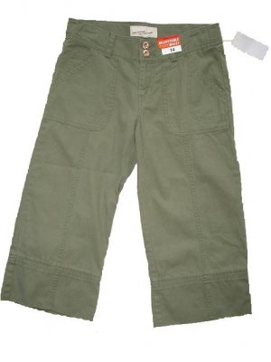 OLD NAVY Green Khaki Capri Pants Copper Girls 14 NWT