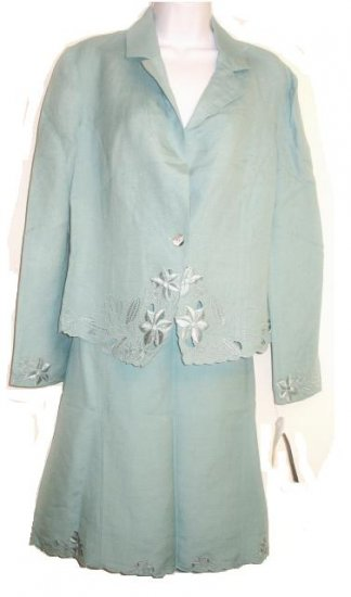 JONESWEAR Aqua Linen Skirt Jacket Suit Sz 14 NEW $136