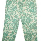 WILLI SMITH  White Green Floral Capri Pants Sz 8 NEW