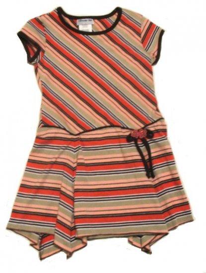 DISORDERLY KIDS Brown Orange Stripe Dress 6 NEW $35