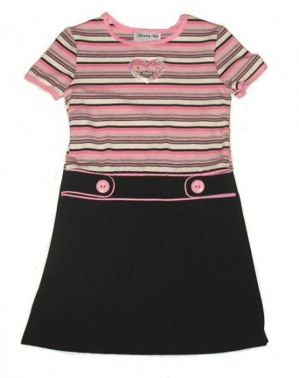 DISORDERLY KIDS Pink Black Heart Dress 5 NEW $35