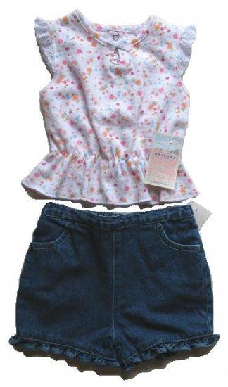 ARIZONA OKIE DOKIE Girls Tank Top Shorts Set 0 3 Mo NEW
