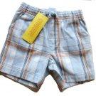 GYMBOREE Summer Safari Boys Blue Plaid Shorts 0 3 Mo NEW