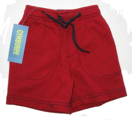 GYMBOREE Surf Island Boys Red Drawstring Cotton Shorts 3 6 Mo NEW