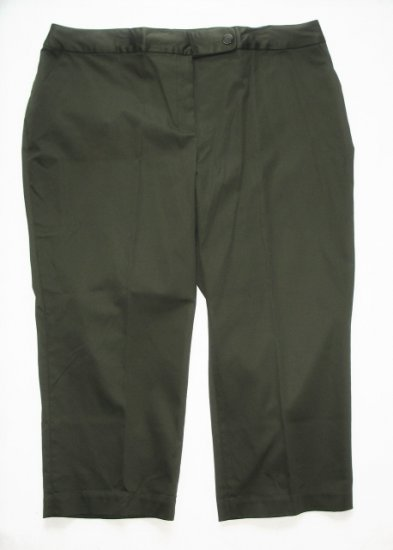 WORTHINGTON Womens Plus Olive Crop Pants Marilyn 22 W NEW $40