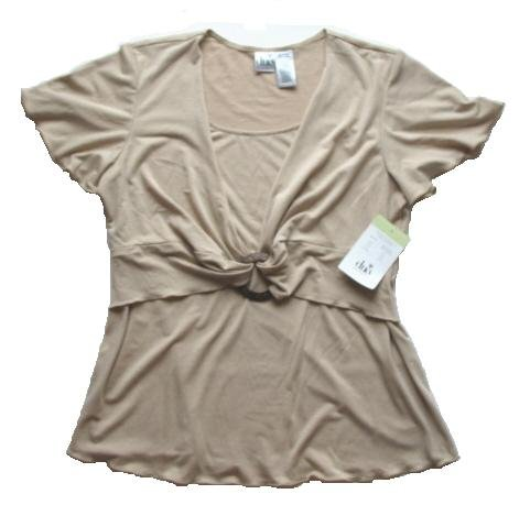 DUO Tan Wood Ring Maternity Top Shirt M NEW $30