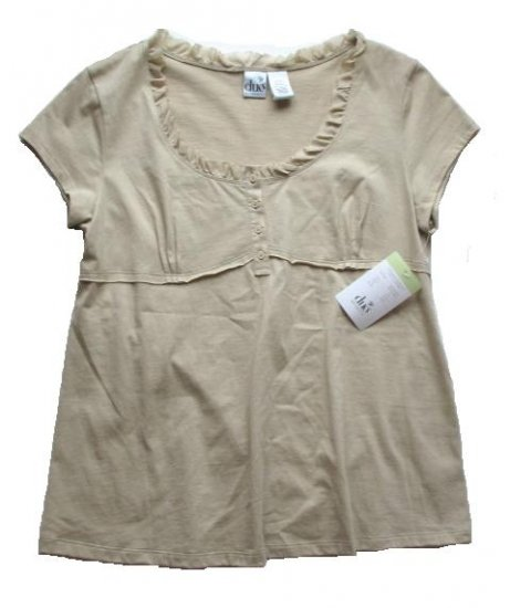 DUO Tan Ruffle Neck Maternity Top Shirt L NEW $26