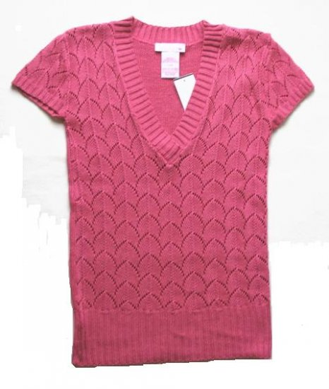 SPUNKY Girls Pink Long Knit Short Sleeve Sweater L 14 NEW