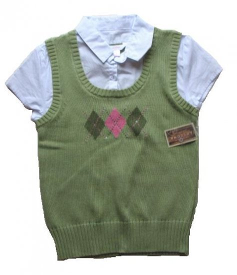 ARIZONA Girls Green Argyle Sweater Vest Shirt L 14 16 NEW