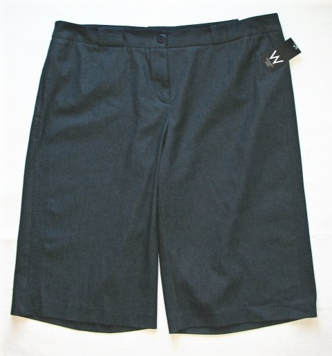 WORK WEEKEND Womens Plus Navy Straight Leg Shorts 22 W NEW $50