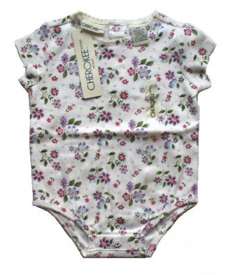 CHEROKEE Girls Cream Floral Onesie Shirt 3 6 Mo NEW