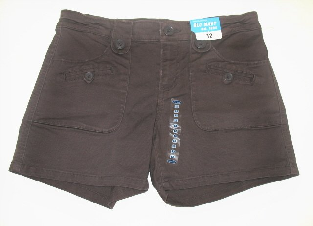 OLD NAVY Girls Brown Button Shorts 12 NEW