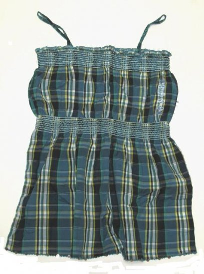 OLD NAVY Girls Blue Plaid Peasant Tank XL 12 14 NEW