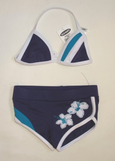 OLD NAVY Purple Tropical Bikini Swimsuit 3 6 Mo NEW
