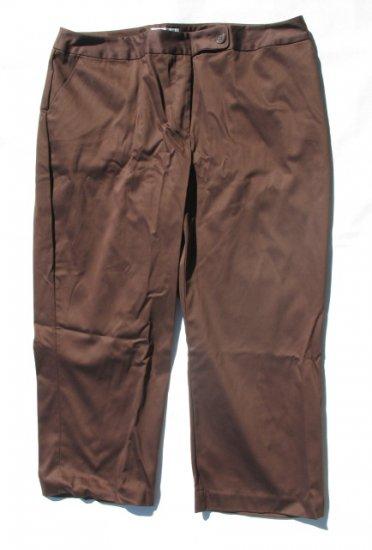 WORTHINGTON Womens Plus Brown Stretch Capri Crop Pants 20W NEW